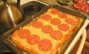 pizza into oven