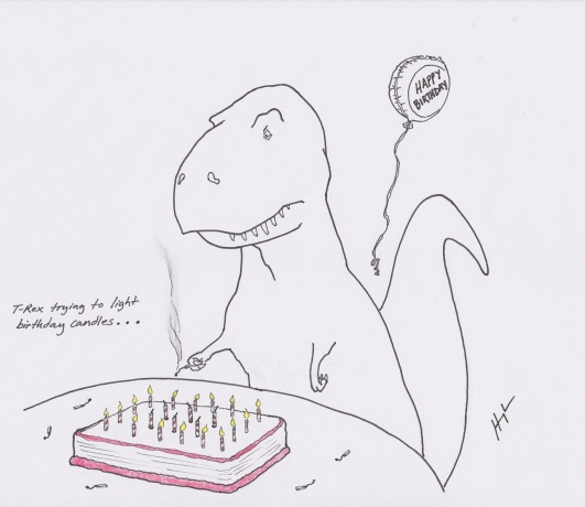 t rex trying to light candles