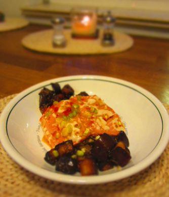 finished eggplant and salmon